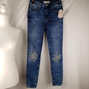 Free People Busted Knee Turquoise Skinny Jeans 25